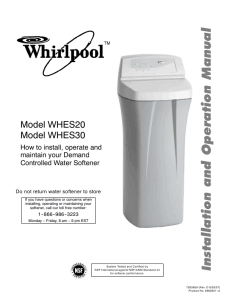 A Whirlpool Water Softener Product Manual